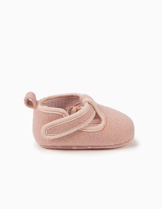 Sapatos Pre-Walker de Lã Rosa