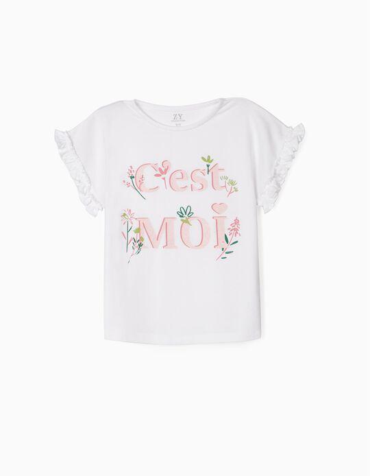 T-shirt for Girls, 'C'est Moi', White