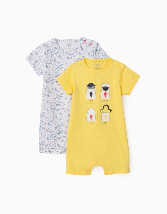2 Babygrows Manga Curta para Bebé Menino 'Seagulls', Amarelo/Azul Claro
