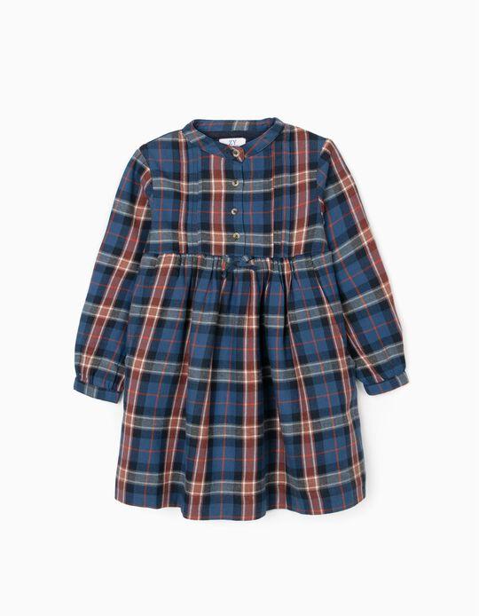 Vestido Xadrez para Menina, Azul/Vermelho