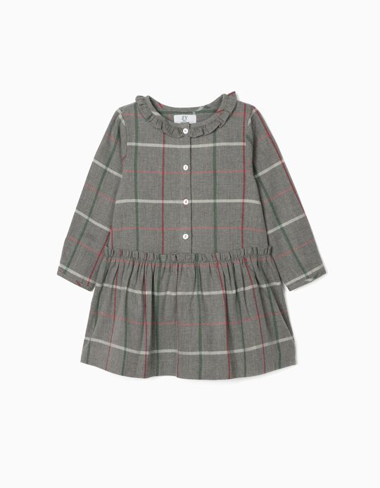 Chequered Dress for Baby Girls, Grey