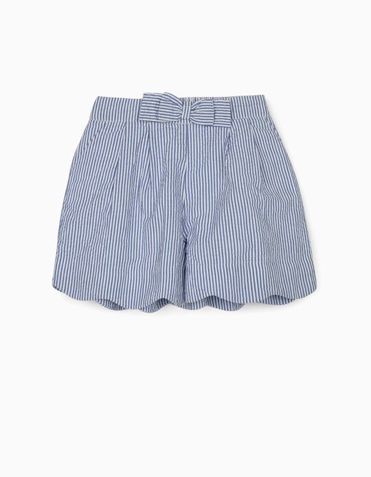 Striped Shorts for Girls, 'B&S', White/Blue