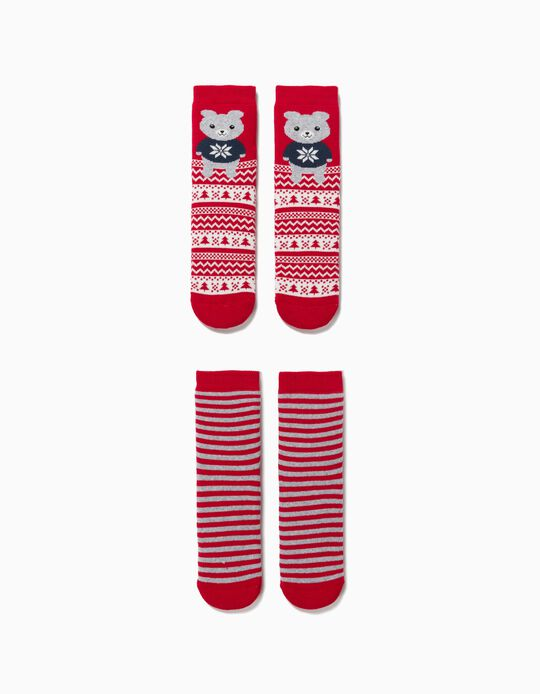 2 Pairs of Non-Slip Socks for Children, 'Christmas Bear', Red/Grey