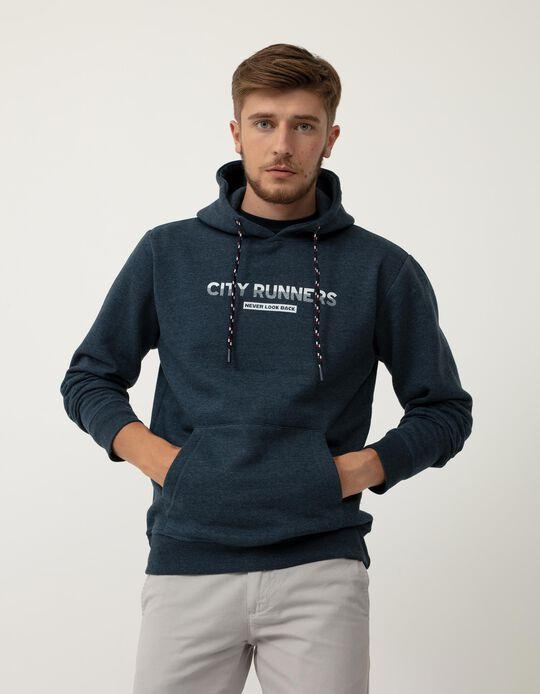 Sweatshirt com Capuz, Homem, Azul