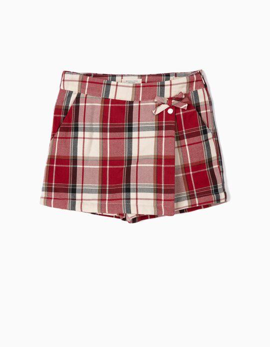 Check Skort for Girls 'B&S', Red/White