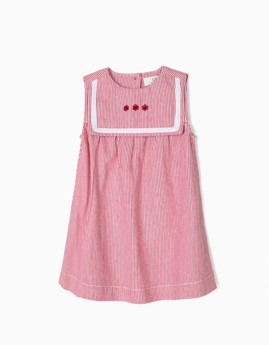 Striped Dress for Baby Girls, Red and Whit