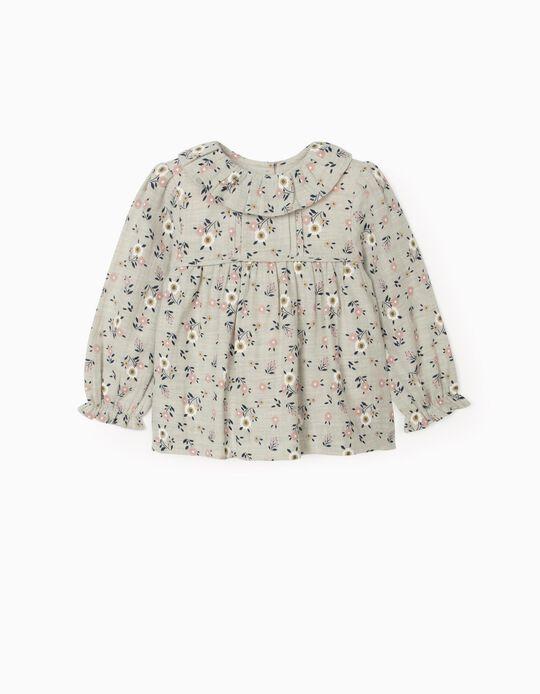 Blusa Floral para Bebé Menina, Cinza