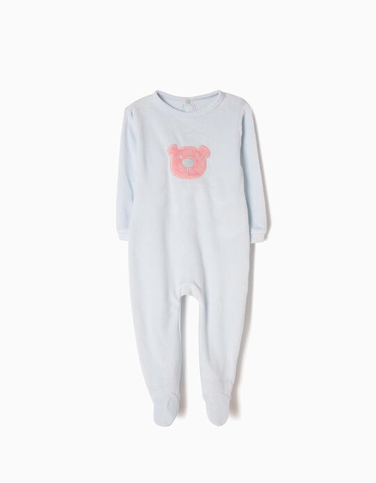 Velour All-In-One for Baby Girls 'Teddy Bear', Light Blue
