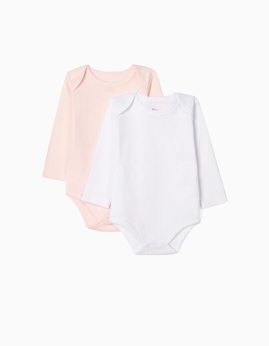 2-Pack Long-Sleeved Bodysuits, White & Pink