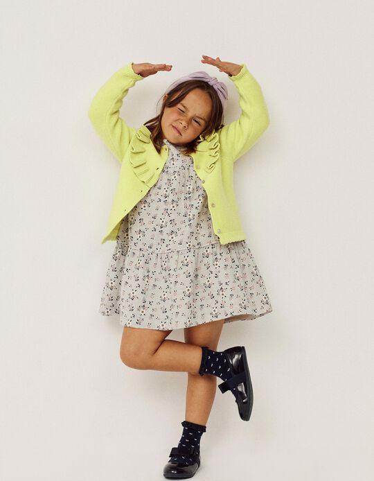 Vestido Floral para Menina, Cinza