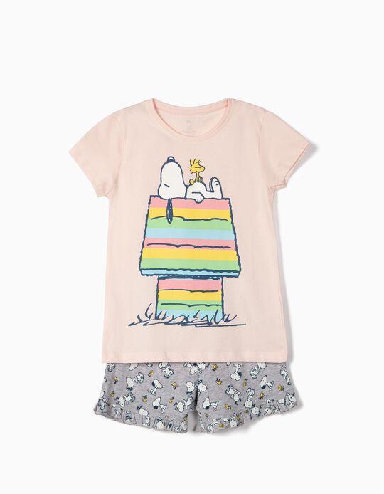 Pijama para Menina 'Snoopy', Rosa e Cinza