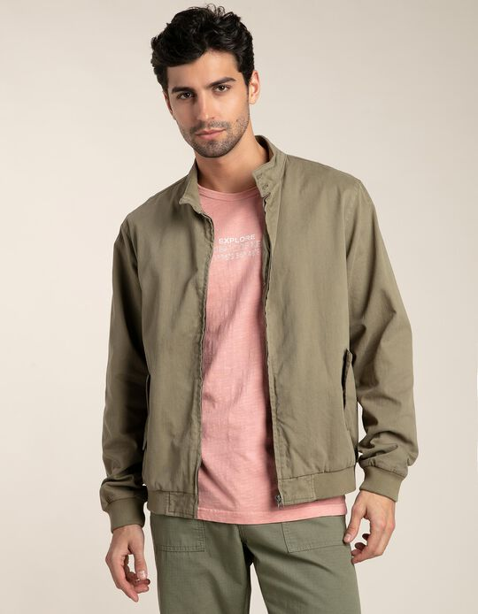 Bomber jacket in garment dyed twill