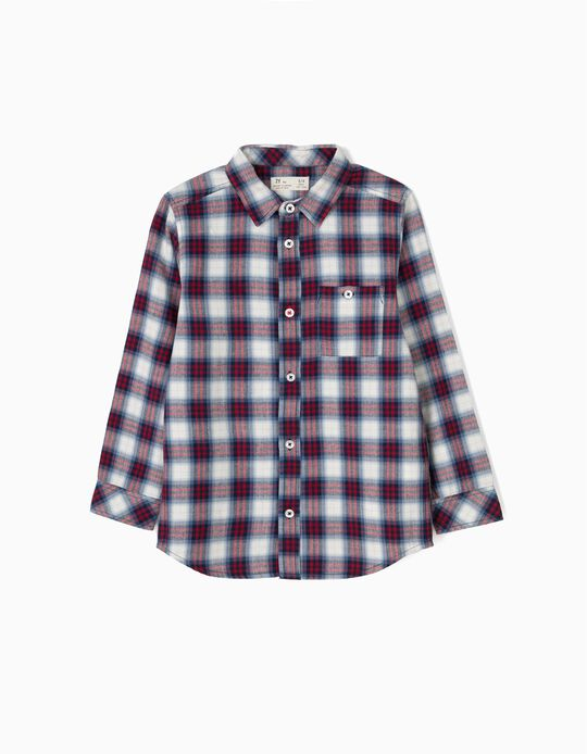 Check Shirt with Pocket for Boys, Red/Blue