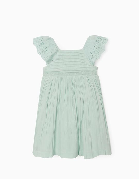 Pleated Dress for Girls, Mint Green