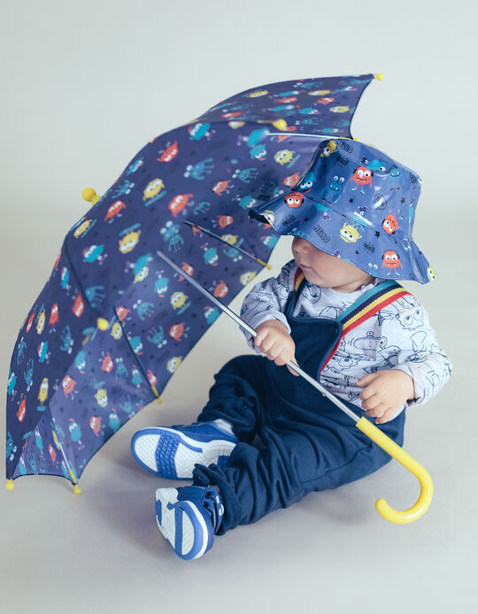 Umbrella for Boys 'Monsters', Blue/Yellow