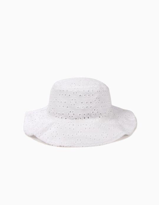 Hat with Broderie Anglaise for Girls, White