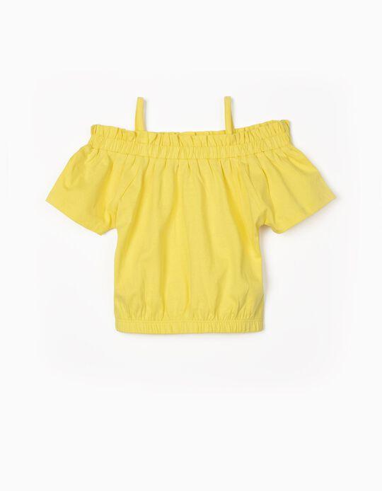 T-shirt com Elásticos para Menina, Amarelo