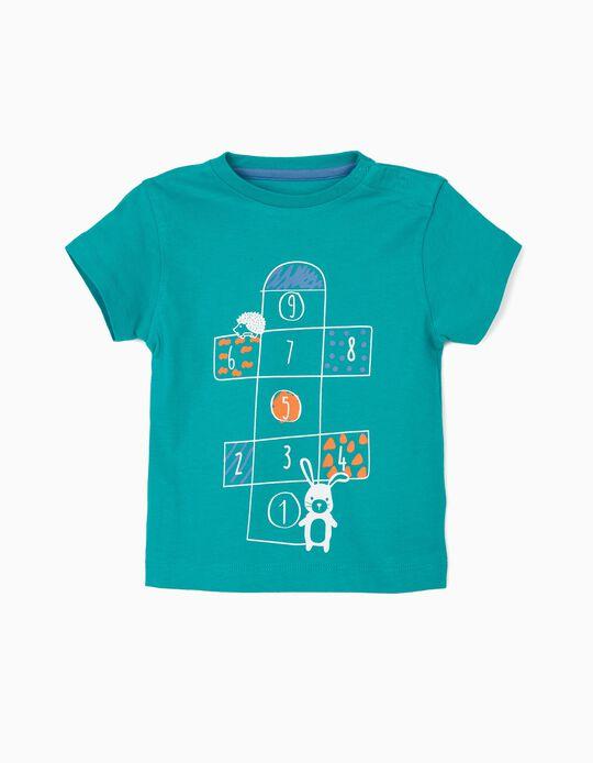T-shirt para Bebé Menino 'Playground', Verde Azulado