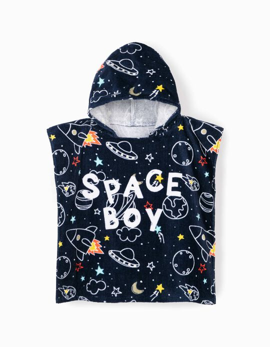 Beach Poncho for Boys, 'Space Boy', Dark Blue