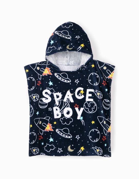 Poncho de Praia para Menino 'Space Boy', Azul Escuro