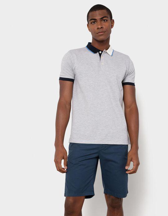 PiquéKnit Polo Shirt with Two-Tone Collar, Men