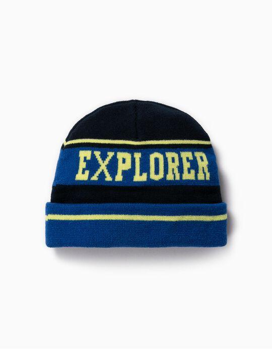 Gorro de Malha para Menino 'Explorer', Azul