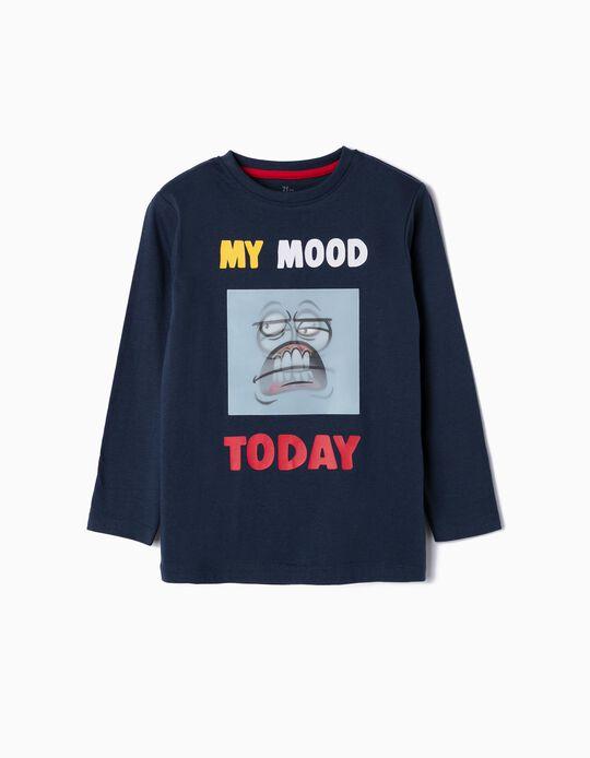T-shirt Manga Comprida para Menino 'My Mood', Azul Escuro