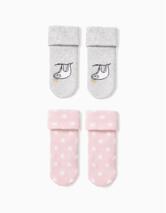 2 Anti-Slip Socks for Baby Girls 'Queen Sloth',  Grey and Pink