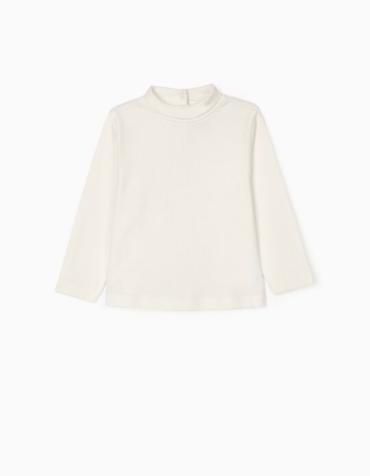 Long Sleeve T-Shirt with Turtleneck for Baby Girls, White