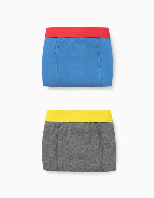 2 Boxer Shorts for Boys, 'DC Comics', Blue/Grey