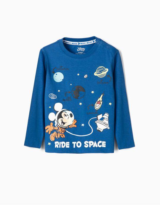 T-shirt Manga Comprida para Bebé Menino 'Mickey Space', Azul