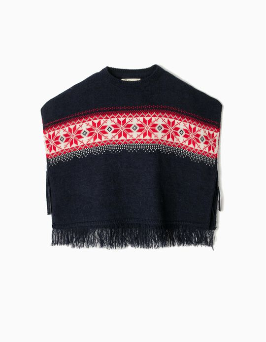 Knitted Poncho with Fringes, for Girls, Dark Blue