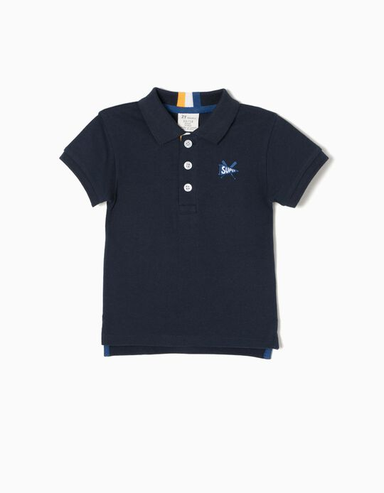 Short-Sleeved Polo-Shirt, Super Blue