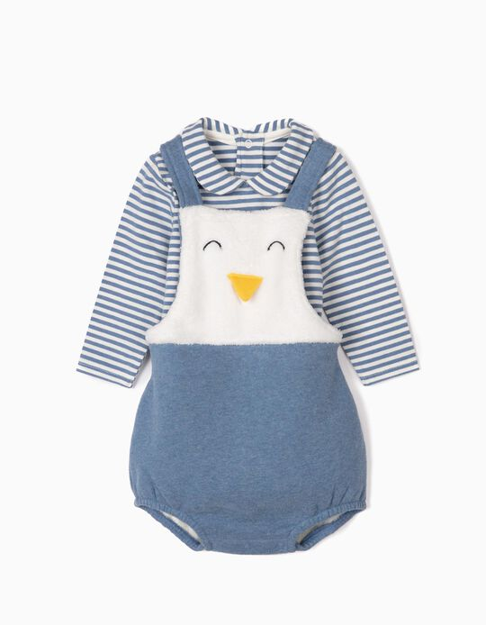 Romper amd Bodysuit for Newborn Boys 'Cute Penguin', Blue/White