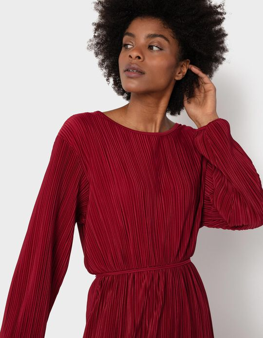 Pleated Midi Dress, Red