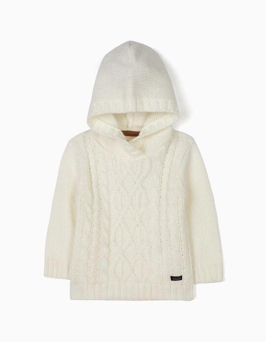 Camisola de Malha com Capuz Branca