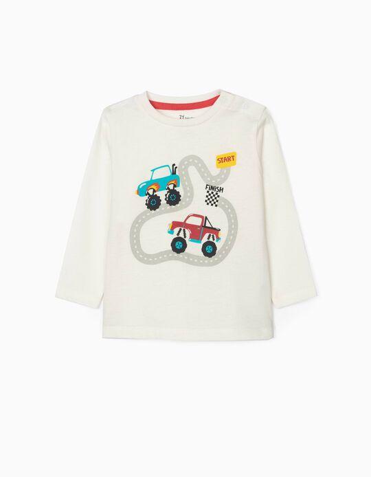 Long sleeve T-Shirt for Baby Boys 'Trucks', White