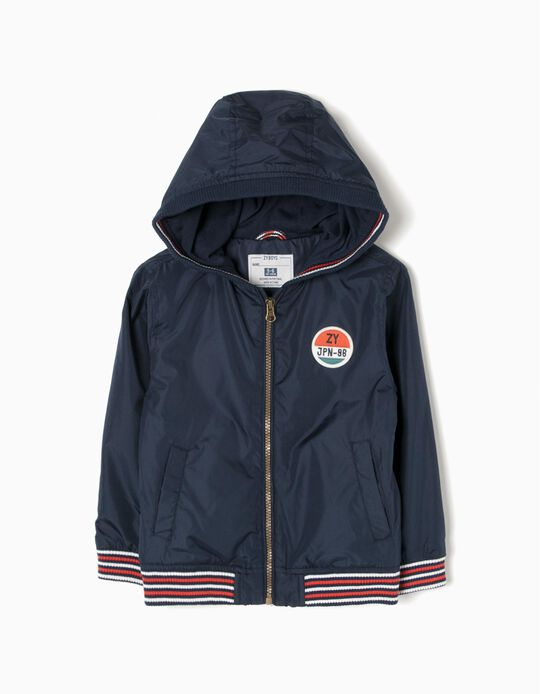 Hooded Windbreaker for Boys 'JPN', Dark Blue