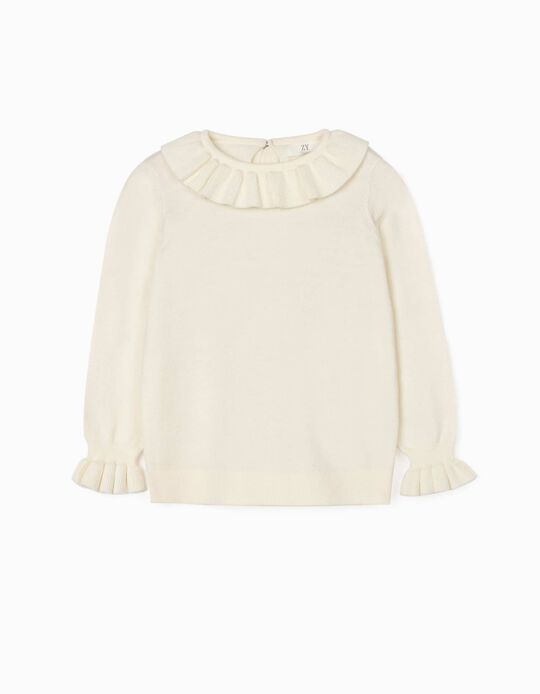 Jumper with Frills for Girls, White