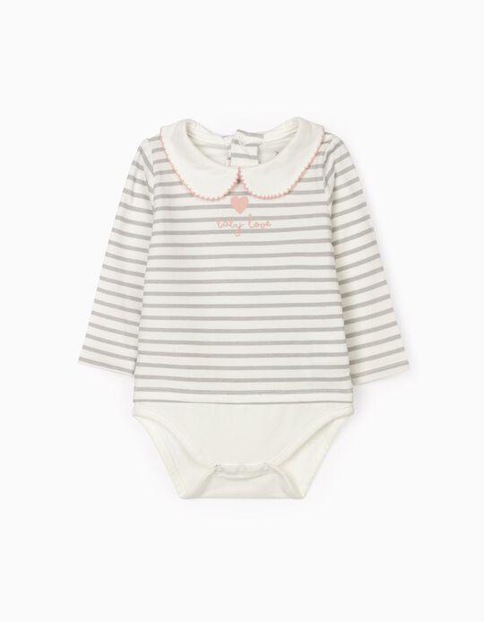 Bodysuit for Newborn Baby Girls 'Baby Love', White/Grey