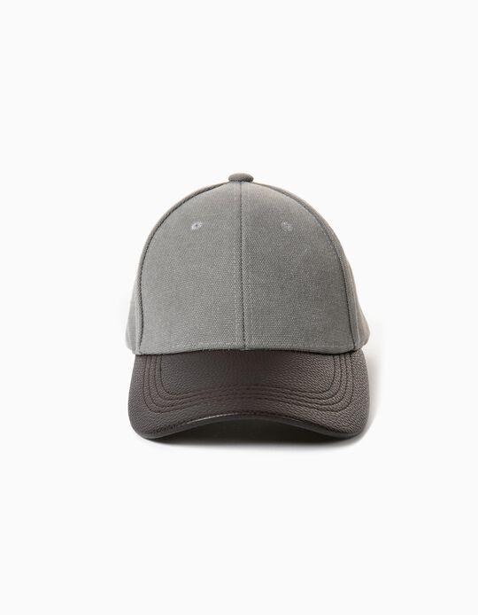 Cap for Men, Grey/ Brown