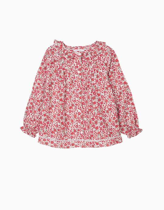 Blouse for Girls 'Flowers', Red