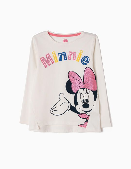 T-shirt Manga Comprida Minnie Branca