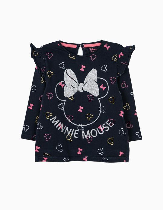 T-shirt Manga Comprida Azul Minnie