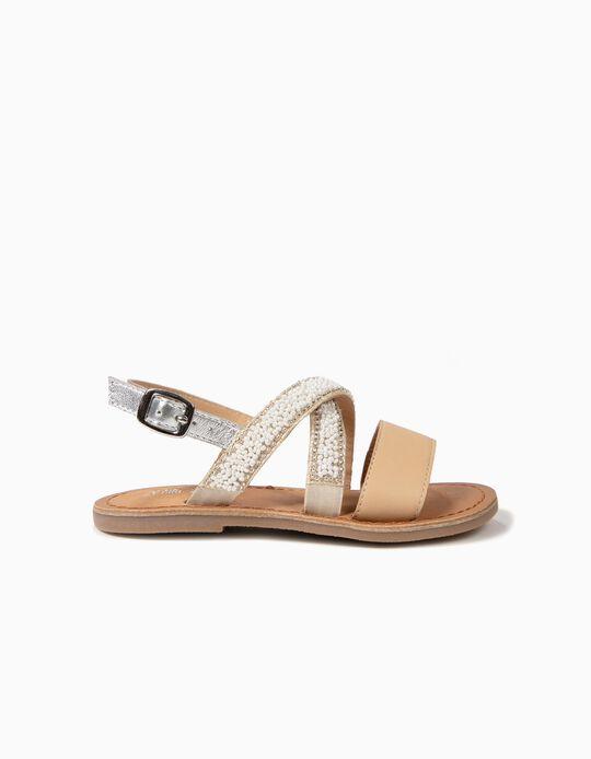 Sandálias de Pele para Menina com Missangas, Branco e Bege