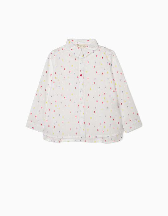 Shirt for Girls 'Dots', White