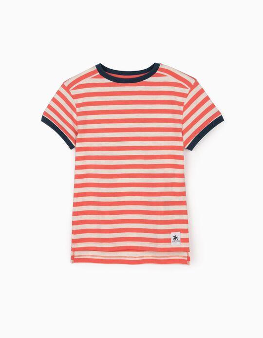 T-shirt Riscas para Menino, Coral/Branco/Azul