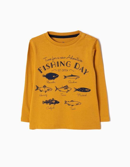 T-shirt Manga Comprida Fish Amarelo-Torrado