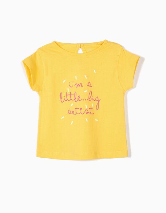 2 T-shirts para Bebé Menina 'Artist', Amarelo e Branco
