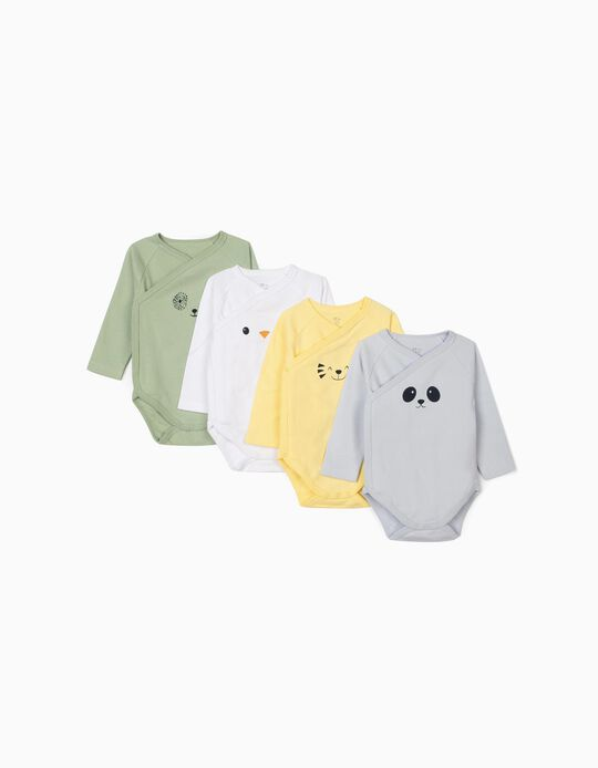 4-Pack Long-sleeve Bodysuits for Baby Boys 'Animals', Multicolour